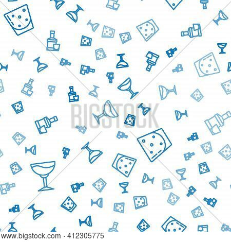 Set Line Wine Glass, Glass Of Rum And Whiskey Bottle And On Seamless Pattern. Vector