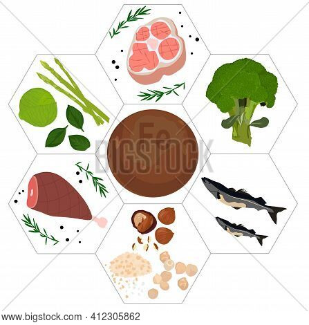 Mineral Vitamin Iron Supplement Vector Stock Illustration.. Products Containing Fe. Food And Drink H