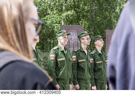 Yegoryevsk. 2019-06-02, Young Fighters In Military Uniforms Are Preparing For The Oath. The Oath Of