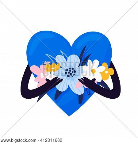 A Big Blue Heart Holds A Beautiful Bouquet Of Flowers In Its Hands. Love Symbol With Bouquets In Han