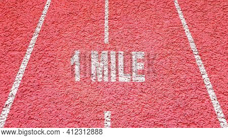 Red Athletic And Running Track With Text