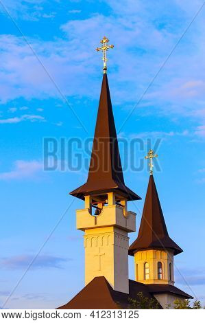 Tower With Belfry And Spire . Church Top Architecture Details