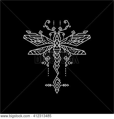 Geometry Illustration Line Dragonfly For Merchandise, Apparel, Or Other