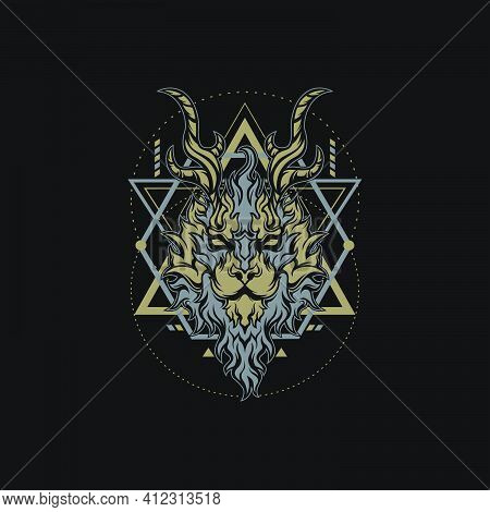 Geometry Fire Lion For Merchandise, Apparel, Or Other