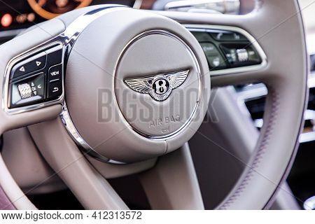 Prague, Czech Republic - January 11, 2021: Steering Wheel Of Bentley Vehicle In Prague, Czech Republ