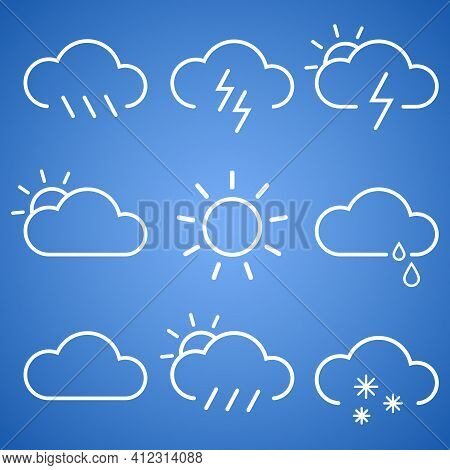 Linear Classic Weather Icons Set. Season Info Hot, Sunny Day, Cloudy, Rainy Or Snowy, Ice-crusted Gr
