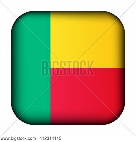 Glass Light Ball With Flag Of Benin. Squared Template Icon. National Symbol. Glossy Realistic Cube,