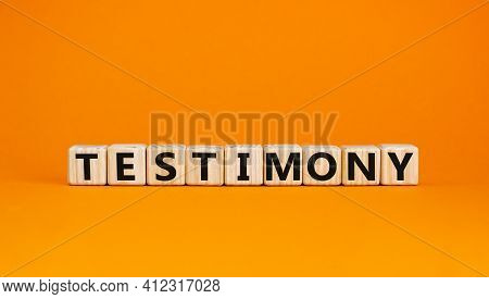 Testimony Symbol. Wooden Cubes With The Word 'testimony'. Beautiful Orange Background. Business, Tes