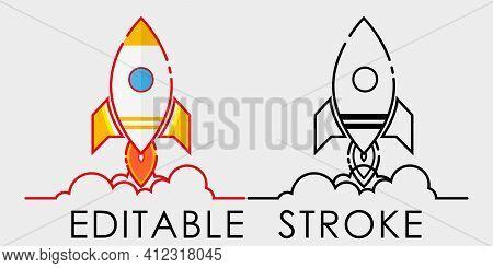 Cartoon Rocket Spaceship Taking Off, Isolated. Editable Stroke. Retro Spaceship Simple Icon.vector I