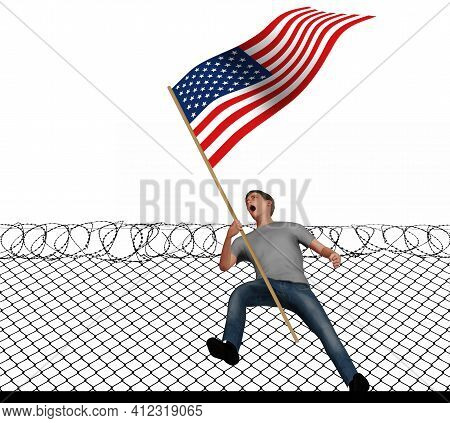 A Young Man Screams With Anger As He Carries An American Flag In This 3-d Illustration About Politic
