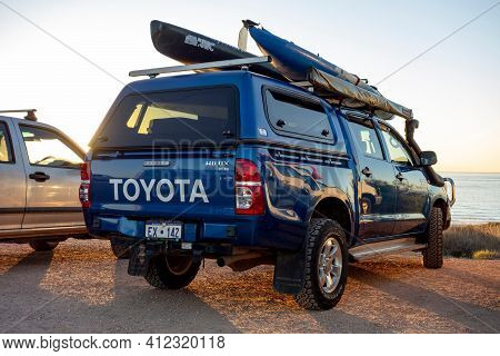 Exmouth, Western Australia - July 7, 2018: The Blue Toyota Hilux 3.0 D-4d Pickup In Western Australi