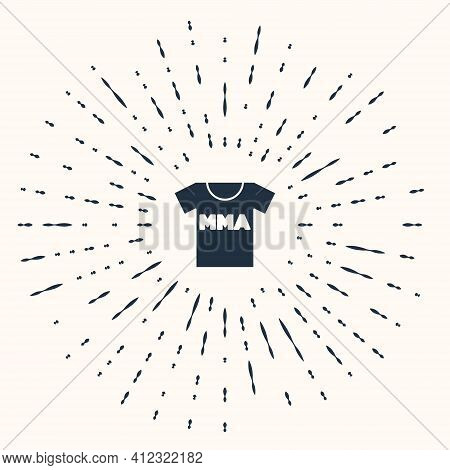 Grey T-shirt With Fight Club Mma Icon Isolated On Beige Background. Mixed Martial Arts. Abstract Cir