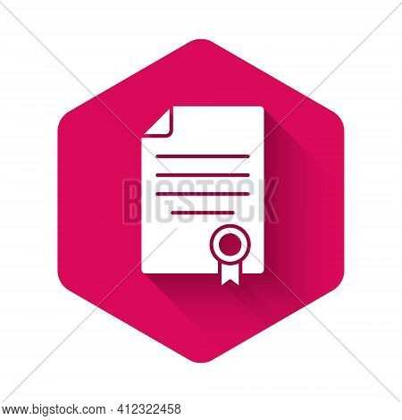 White House Contract Icon Isolated With Long Shadow Background. Contract Creation Service, Document