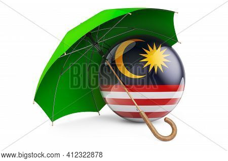 Malaysian Flag Under Umbrella. Protection And Security Of Malaysia Concept, 3d Rendering Isolated On