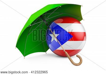 Puerto Rican Flag Under Umbrella. Protection And Security Of Puerto Rico Concept, 3d Rendering Isola