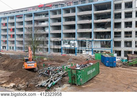 Zwolle, The Netherlands - December 4, 2013: View At Demolition Old Hospital Building In Dutch City Z