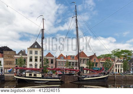 Zwolle, The Netherlands - May 30 2014: Cityscape Dutch Medieval City Zwolle With Canal And Old Moore
