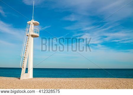 Lifeguard Rescue Observation Tower On The Beach.