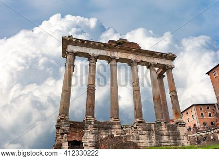 Temple Of Saturn In Roman Forum, Center Of Rome, Italy