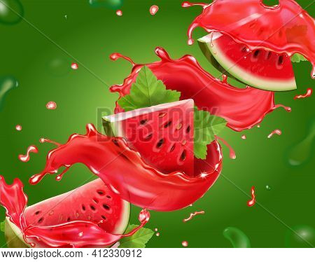 Watermelon Juice On Green Background. Fresh Watermelon Fruit Slices. 3d Realistic Vector