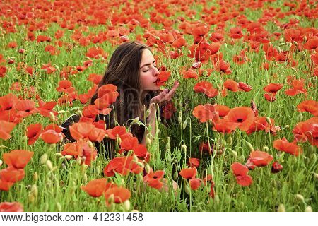 Spring Girl Face. Womens Day With Girl In Red Blossom Poppy. Womens Day Holiday With Girl In White F