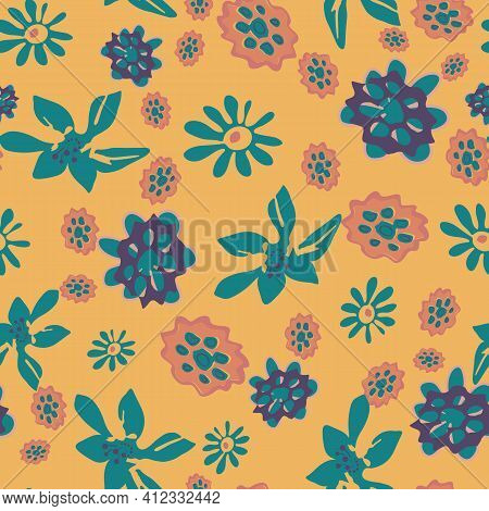 A Bright Contrast Floral Seamless Vector Pattern