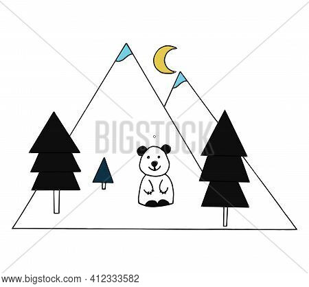 Smiling Bear Cub On The Background Of Mountains In The Forest On A Moonlit Night. Vector Illustratio