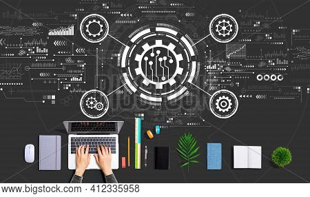 Automation Concept With Person Using A Laptop Computer