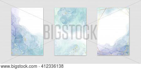 Collection Of Abstract Dusty Blue Liquid Watercolor Background With Golden Stains And Frame. Pastel