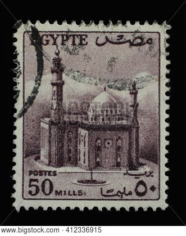 ZAGREB, CROATIA - SEPTEMBER 18, 2014: Stamp printed in Egypt shows Sultan Hussein Mosque, Cairo, circa 1953