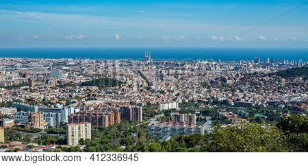 Panorama of Barcelona in autumn