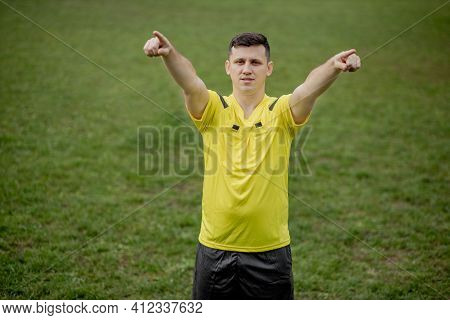 Referee Goes Watching Var Or Violation Of The Rules. Concept Of Sport, Rules Violation, Offside