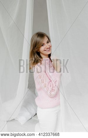 Gentle Portrait Of A Girl. Sweet Lady Smiles Optimistically. Portrait Of A Lovely Young Girl In Gent