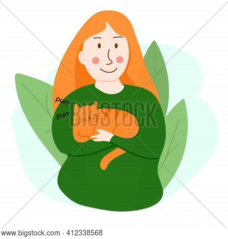 Vector Illustration Of Girl With Purring Cat. Design For Web-sites, Flyers, Banners, Posters, Prints