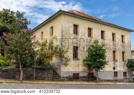 Old Stone House With Trees And Flowers, Monte Belo Do Sul, Rio Grande Do Sul, Brazil