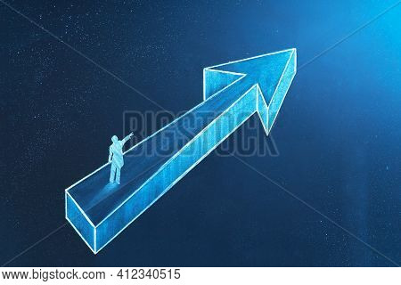 Vision Concept In Business. A Businessman Show Direction. Symbol Of Leadership, Strategy, Mission, G