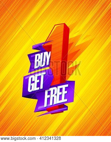 Buy one - get one free, sale banner concept with origami ribbon and 3D letter, rasterized version