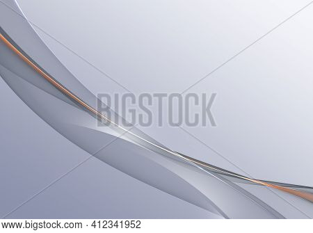 Abstract Background Waves. Cool Grey And Orange Abstract Background For Wallpaper Or Business Card