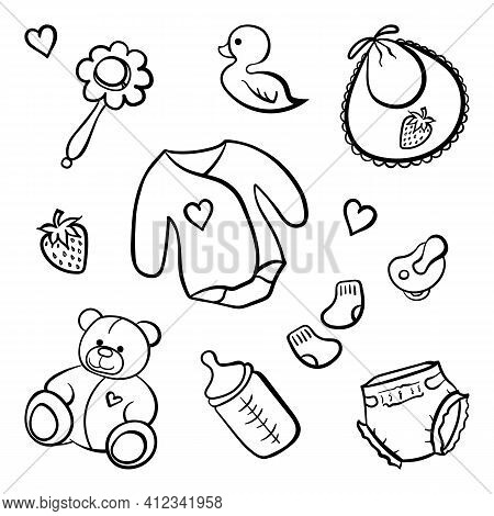 Cartoon Newborn Baby Clothes Toys Things Monochrome Black And White Isolated Line Art Vector Icon Se