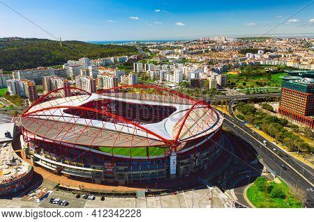 Aerial View Of The Benfica Stadium. Estadio Da Luz. Football Stadium In Lisbon, Portugal. 10.03.2021