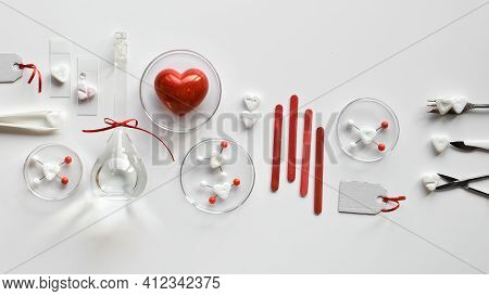 Chemistry Of Love. Creative Flat Lay On White Paper. Top View With Chemical Glassware, Petri Dishes,