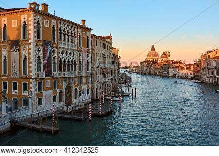 May 21, 2017 - Venice, Italy: View Of The Grand Canal And Santa Maria Della Salute, Famous Roman Cat