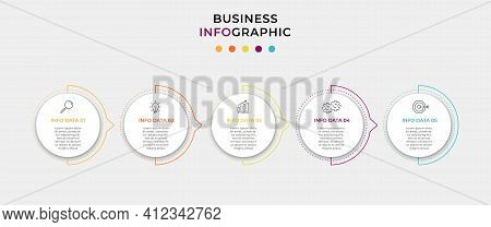 Business Infographic Design Template Vector With Icons And 5 Options Or Steps