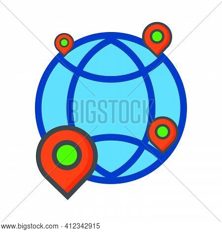 Location Illustration. Location With Global Network Icon. Can Use For, Icon Design Element,ui, Web,
