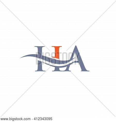 Water Wave Ha Logo Vector. Swoosh Letter Ha Logo Design For Business And Company Identity.
