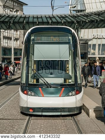 Strasbourg, France - Feb 23, 2019: Strasbourg Public Transportation Front View System Tramway With P