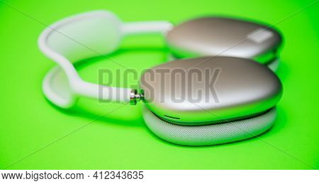 Paris, France - Jan 7, 2021: Close-up Of Ear Cup Vent On Airpods Max Wireless Bluetooth Over-ear Hea