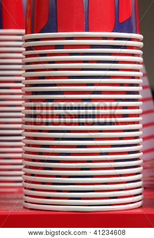 closeup of stacked paper containers