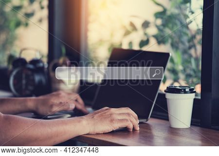 Hand Man Using Labtop For Searching Browsing Internet Data Information Networking Concept.