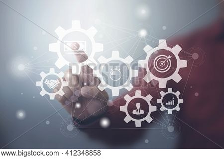 Business Process Management And Workflow Automation Diagram With Gears And Icons With Connection Lin